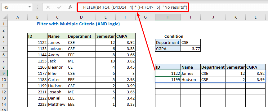 Enter formula using Filter function
