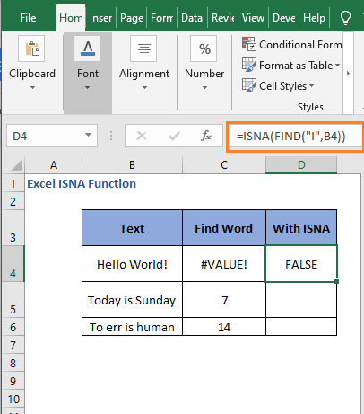 ISNA with FIND - Excel ISNA Function