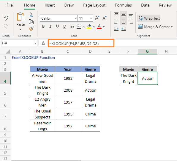 Found - not found - Excel XLOOKUP Function
