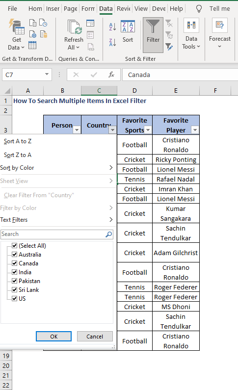 Select items - How To Search Multiple Items In Excel Filter