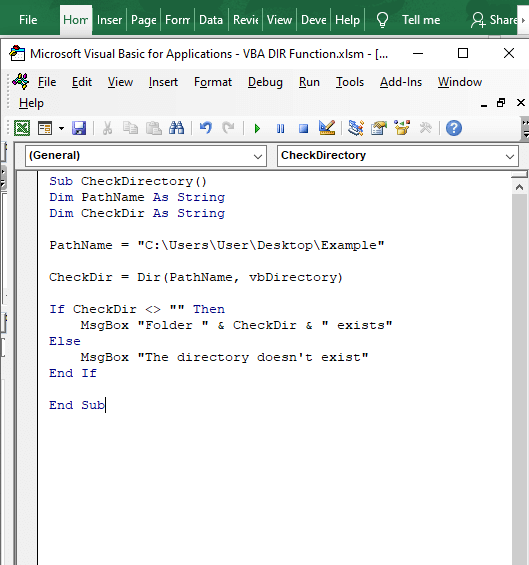Code to check directory - VBA DIR Function