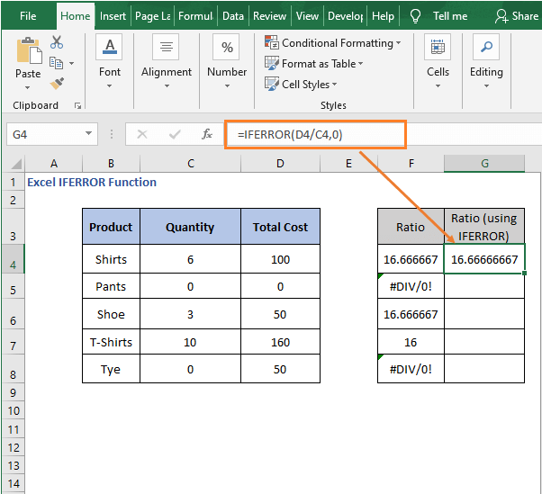 Divide with IFERROR - Excel IFERROR Function