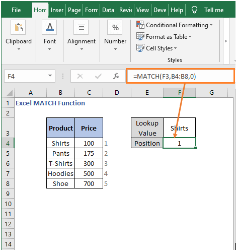 Result - Excel MATCH Function