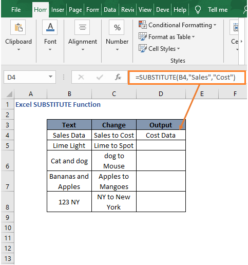 Replace in dataset 1 - Excel SUBSTITUTE Function