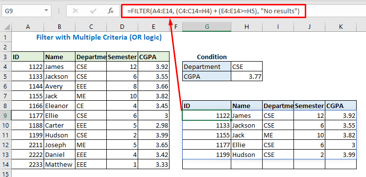 Filter with Multiple Criteria (OR logic)