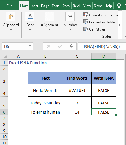 FIND - ISNA examples - Excel ISNA Function