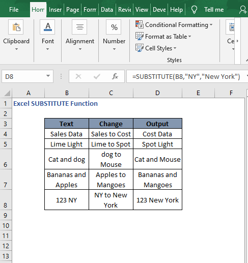 Replace in dataset 1 autofill - Excel SUBSTITUTE Function