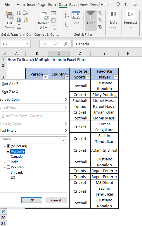 Select item 1 - How To Search Multiple Items In Excel Filter