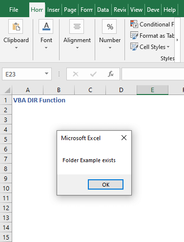 Code result to check directory - VBA DIR Function