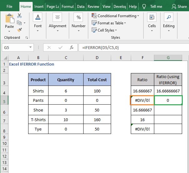 Compare division results - Excel IFERROR Function