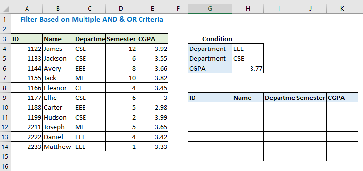 Filter Based on Multiple AND & OR Criteria