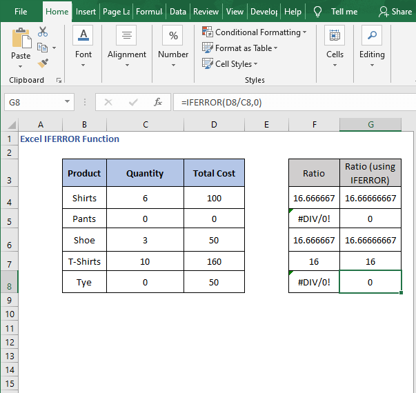 Divide with IFERROR - results - Excel IFERROR Function