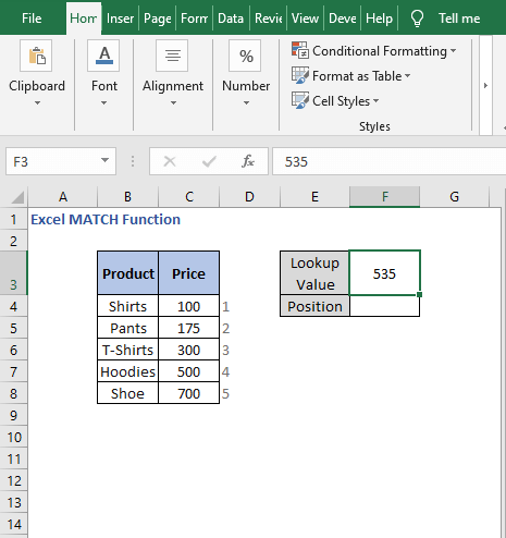 Approximate match - Excel MATCH Function
