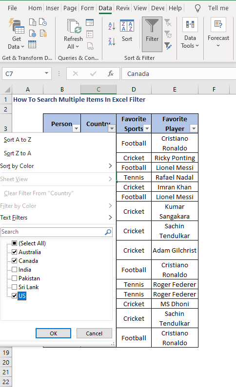 Select Multiple items - How To Search Multiple Items In Excel Filter