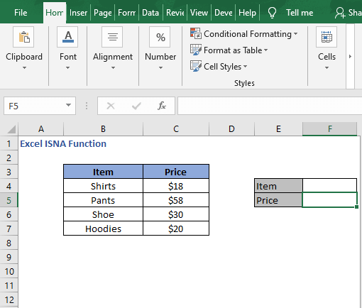 Lookup example dataset - Excel ISNA Function