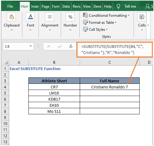 Multiple replace example - Excel SUBSTITUTE Function