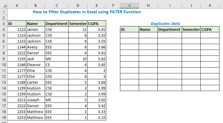 How to Filter Duplicates in Excel using FILTER Function