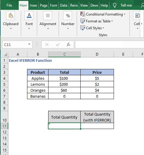 Array formula dataset- Excel IFERROR Function