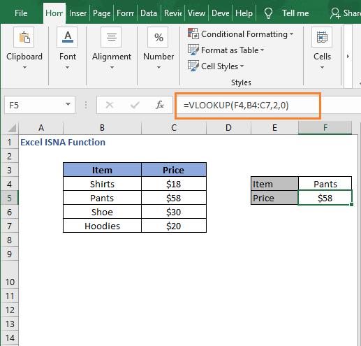 VLOOKUP formula - Excel ISNA Function