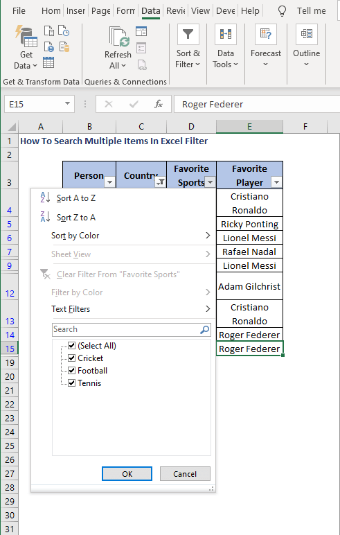 Select data from different column-How To Search Multiple Items In Excel Filter