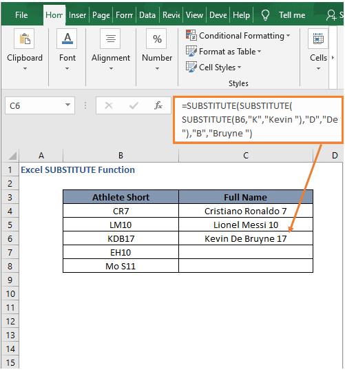 Multiple replace example 2 - Excel SUBSTITUTE Function