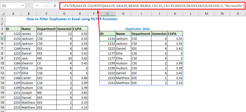 Enter formula using FILTER and COUNIFS