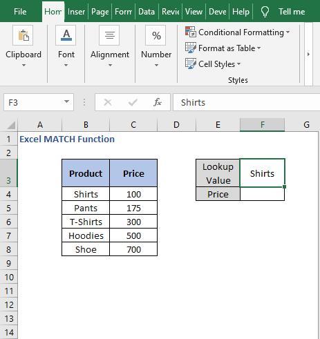 Find value - Excel MATCH Function