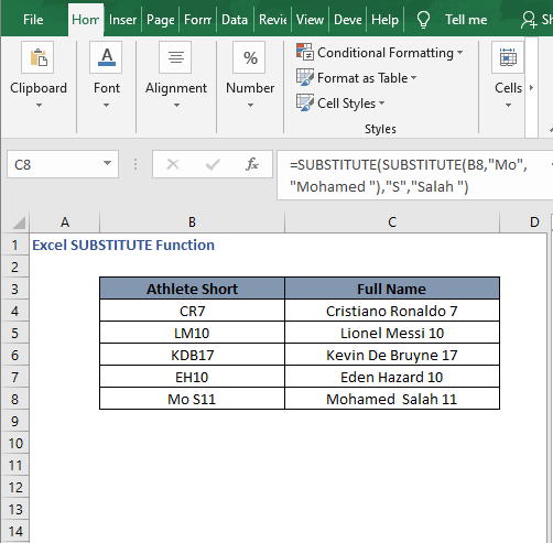 Multiple replace autofill - Excel SUBSTITUTE Function