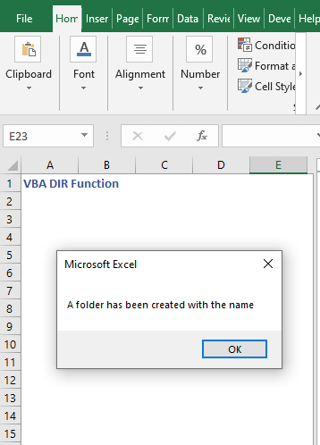 Code result to check and make directory - VBA DIR Function