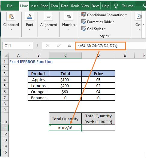 Array formula sum - Excel IFERROR Function