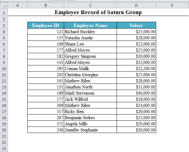 A Data Set in Excel