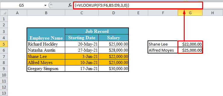 Array VLOOKUP Function