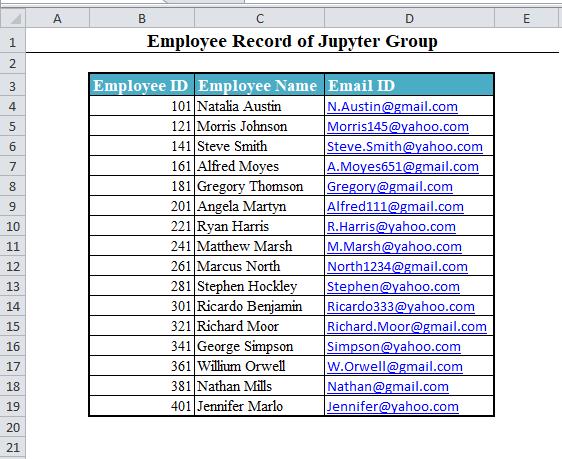 Data Set in Excel