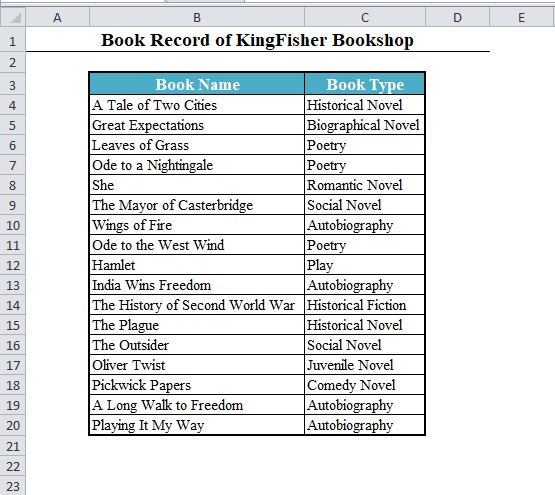 Data Set of Books in Excel