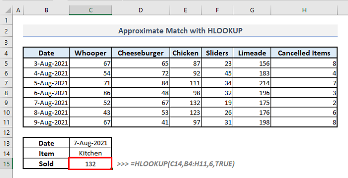 approximate match with hlookup function in excel