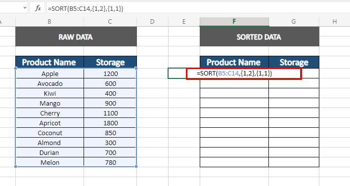 auto sort using sort function