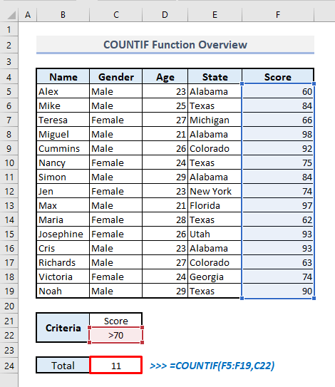 countif function overview in excel