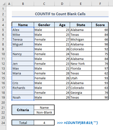 countif to count blank or non blank cells in excel