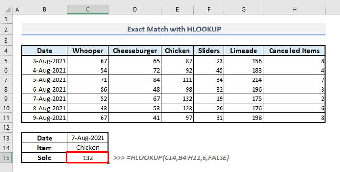exact match with hlookup function in excel