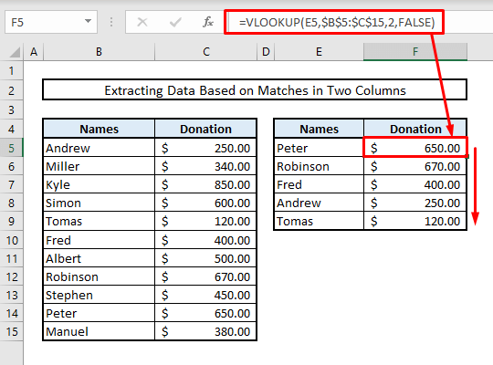 extract data based on matches or duplicate values in two columns in excel