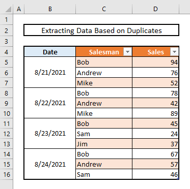 extract data based on matches or duplicate values in excel