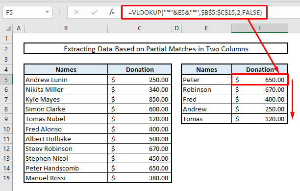 extract data based on partial matches or duplicate values in two columns in excel