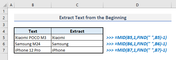 extract text from the beginning with find mid functions in excel