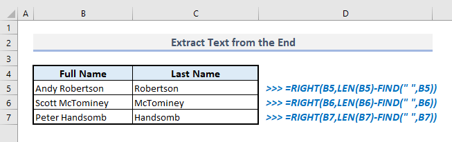 extract text from the end with find function in excel