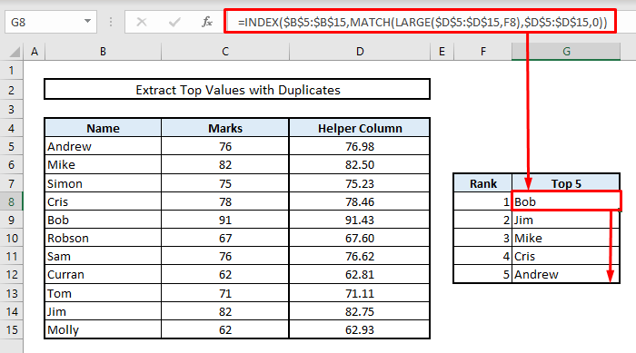 extract top values with duplicates or matches in excel