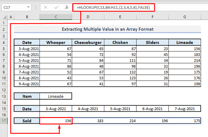 extract multiple values with array formula in hlookup function in excel