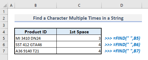find character multiple times in text string in excel