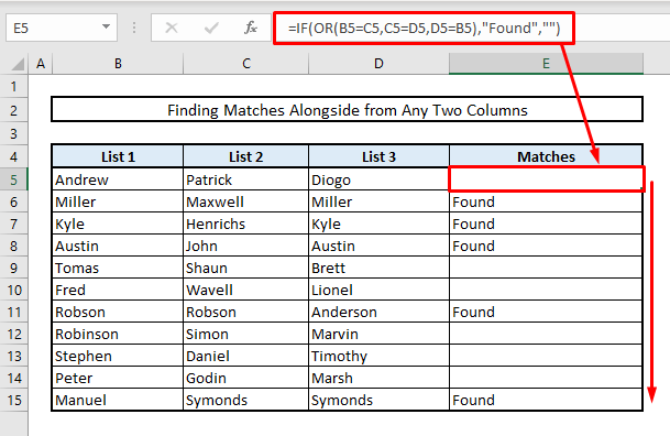 find matches or duplicates in more than two columns in excel