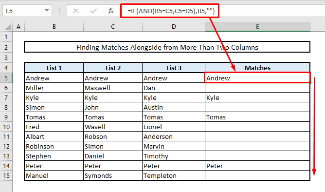 find matches or duplicates in more than two columns by using if and functions in excel