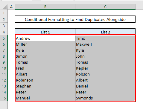 find matches or duplicates in two columns in same row with conditional formatting in excel